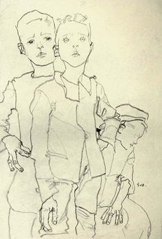 Trois garçons des rues | 1910 | 1910 when Schiele portrayed and sketched children from the neighbourhood and street kids