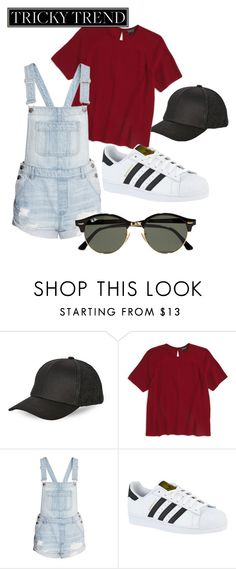 """Untitled #28"" by steph11nicole on Polyvore featuring BCBGeneration, Topshop, H&M, adidas, Ray-Ban, TrickyTrend and overalls"