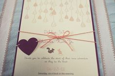 """This idea is adorable. This couple's theme was """"The adventures of mice and squirrel"""" because those were the nicknames they gave each other in high school.  SO SWEET.  The bride designed these invitations herself and they kept the theme running throughout the wedding.  Adorable."""