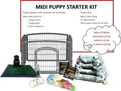 Midi Puppy Starter Kit - FREE SHIPPING, R3 080.00  #shopplaypens #puppy #puppies #newpuppy #puppytraining #petbed #ecofriendlybowls #rawfoodforpuppies #becobowls #playpen #petplaypens #superdeals #2016deals #save #freedelivery #freeshipping #newfluffybaby #furbaby #furbabies #ilovemydog #ilovemynewpuppy #puppylove Puppy Playpen, Puppy Beds, Raw Food For Puppies, Puppy Starter Kit, Puppy Food, New Puppy, Pet Products, Fur Babies, Baby Animals