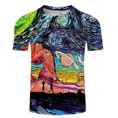 15950aa3 Cool Rick Morty men/wowen t shirt 2018 Summer Anime T-shirts rick and morty  worlds folk black White Fitness Cute tee shirt homme