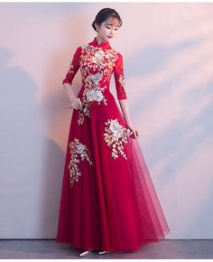 the length here is good but not loving the neckline Evening Dresses, Prom Dresses, Formal Dresses, Queen Dress, Cheongsam Dress, Gowns Of Elegance, Lovely Dresses, Floral Maxi Dress, Traditional Dresses