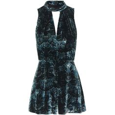 TOPSHOP Velvet Playsuit (735 DKK) ❤ liked on Polyvore featuring jumpsuits, rompers, playsuit, green, blue rompers, dressy romper, velvet romper, playsuit romper and blue romper