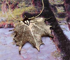 Real Sugar Maple Leaf Jewelry, Natures Leaves, 24K Antique gold pendant necklace with chain. $17.95, via Etsy.