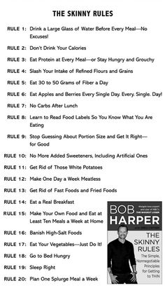 Bobs Skinny Rules. Going to try to follow at least some of these