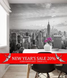 Manhattan Skyline Photography in an oversize sticker poster. Just peel off the sheets and apply to your wall to get this stunning look! Our Peel and Stick products are repositionable and will not damage your walls when you remove them.  [Size] 10w x 8h (120w x 96h) (304 CM wide x 243 CM tall)  [Whats Included] 5 sheets of 24w x 96h peel-n-stick fabric wallpaper  Please Note: Our standard wallpaper is slightly translucent. We recommend using our wallpaper over a white or light colored…