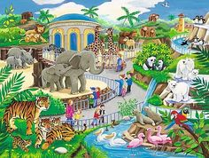 Visit to the Zoo, a Ravensburger jigsaw puzzle for kids, found in the Kick-Ass Kids section of KICKASSPUZZLES. This is a frame puzzle; no box is included. The Zoo, Ravensburger Puzzle, Preschool Puzzles, German Toys, Jigsaw Puzzles For Kids, Puzzle Shop, Jungle Theme, School Themes, Exotic Birds