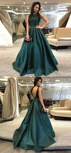 2019 Hunter Green Satin Prom Dresses with Belt Beadings Boat Neck Long Prom Party Gowns #darkgreen #satinpromdress #beaded #aline #partygowns #homecoming #2019prom