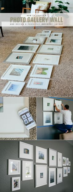 How to create a photo gallery wall with tips for designing an asymmetrical layout.