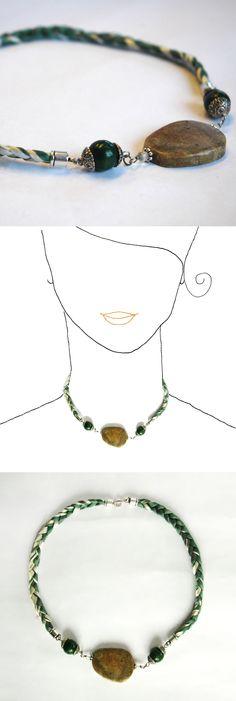 Handmade necklace. Unique design.  Silk ribbon & soap stone.  See all the collection at www.caixademistos.com  Online Shop at Dawanda: http://en.dawanda.com/shop/caixademistos