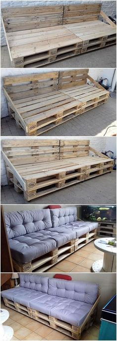 You can dramatically make the use of the old shipping pallets in the couch setting pieces of designing for your house where you can amazingly serve your guest as in view with seating arrangement. Diy Pallet Couch, Diy Pallet Furniture, Diy Pallet Projects, Wood Projects, Pallet Couch Outdoor, Furniture Ideas, Pallet Seating, Backyard Pallet Ideas, Pallet Ideas For Outside