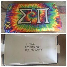 sigma pi fraternity tie dye grateful dead cooler drake if you're reading this Sorority Canvas, Sorority Paddles, Sorority Crafts, Sorority Recruitment, Fraternity Coolers, Frat Coolers, Nola Cooler, Delta Gamma, Kappa