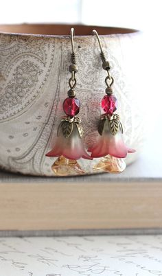 Lucite Flower Earrings Cranberry Red Earrings by apocketofposies