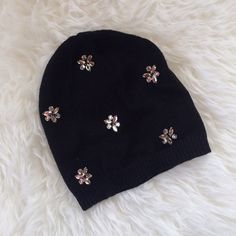 Embellished Black Betsey Johnson Beanie Black Betsey Johnson beanie with pretty jewel embellishments. Very warm and soft. Only been worn a few times. Betsey Johnson Accessories Hats