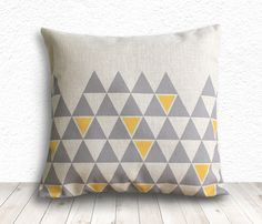 Pillow Cover, Geometric Pillow, Triangle Pillow Cover, Linen Pillow Cover 18x18 - Printed Geometric - 140 by 5CHomeDecor on Etsy