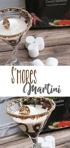 Sweet S'mores Martini is creamy, delicious and so much fun to make and serve. Rim the glass with chocolate and graham crackers, and roast a marshmallow for the garnish on the cocktail. Smores Martini Recipe, Martini Recipes, Drinks Alcohol Recipes, Cocktail Recipes, Drink Recipes, Cocktail Ideas, Margarita Recipes, Dessert Recipes, Fun Drinks