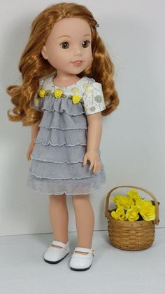 Wellie Wisher Fancy Ruffled Dress, American Made to Fit 14 Inch Girl Doll