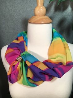 Colorful scarf, magnetic closure scarf, loop scarf, fashion scarf. by IszyScarfCompany on Etsy