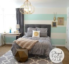 Mint green and gold guest room                                                                                                                                                                                 More