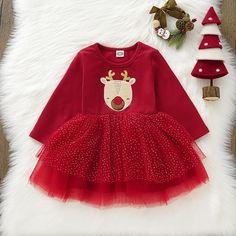 US Christmas Toddler Infant Baby Girl Xmas Clothes Long Sleeve Lace Tutu Dress Fashion Niños, Dress Fashion, Fashion Beauty, Kids Fashion, Tak Tak, Baby Girl Christmas Dresses, Toddler Christmas, Christmas Deer, Merry Christmas