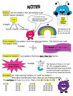 Student Notes: Prime, Composite, Factors, Multiples  FREEBIE Teachers can provide students with notes to reinforce skills taught in class such as factors, prime and composite numbers and multiples. Teachers can give all students a copy to assist with homework and studying. Browse my store! www.teacherspayte...