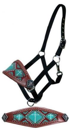 Showman-Bronc-Nose-Halter-with-TEAL-Beaded-Inlay-with-Cross-Design-HORSE-TACK