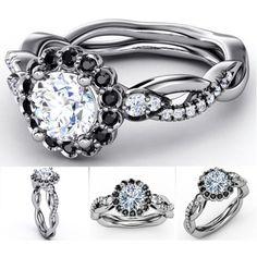 Black & White Diamond Halo Engagement Ring