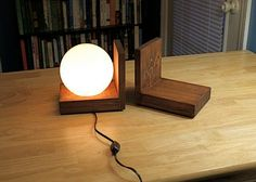 Lamp Bookends Lighting Wood Wooden Book Ends Night Light Bookshelf Nightlight Library Shelf Lamps Simple Modern Style Globe Lights