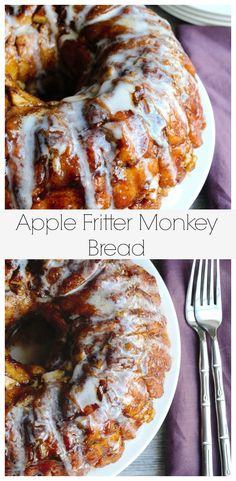 This Apple Fritter Monkey Bread is tender, crunchy and gently layered with apples, walnuts and cinnamon. (desserts with apples) Apple Recipes, Bread Recipes, Cooking Recipes, Apple Desserts, Health Desserts, Holiday Recipes, Cooking Tips, Cake Recipes, Brunch Recipes
