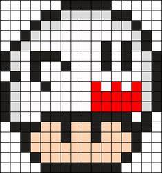 Boo Mushroom Perler Perler Bead Pattern / Bead Sprite