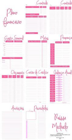 Kit Financeiro Pessoal para imprimir - 5 planners Bullet Journal 2, Bullet Journal Ideas Pages, Bullet Journal Inspiration, Planner Doodles, Free To Use Images, Personal Organizer, Bookbinding, Diy Design, Interior Design
