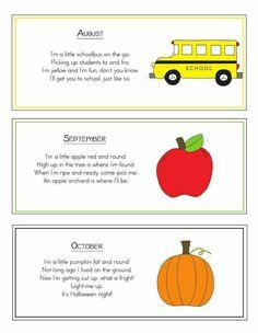Song a Month Preschool Poems, Preschool Music, Preschool Lessons, Preschool Activities, Preschool Teachers, Toddler Preschool, Kindergarten, Months Song, Months In A Year