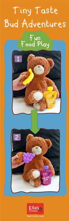 This TTBA will help build confidence and greater willingness to experience food in new ways!   Step 1: Gather your little ones favorite stuffed animal, an apple, banana, and a pear!  Step 2: Have your little one pretend to feed their stuffed animals and then give them the food and associated Ella's First Tastes pouches!