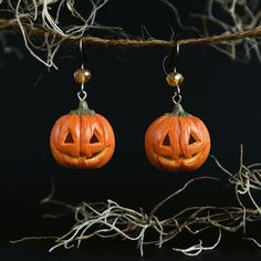 Spooky Hollow Handmade Polymer Clay Halloween Pumpkin Earrings, pumpkin earrings, halloween jewelry, halloween earrings, spooky jewelry, spooky earrings, hallowwen, pumpkin, halloween jack, spooky jack, ghost, sweet jewelry, present, gift, gift for her, for woman,