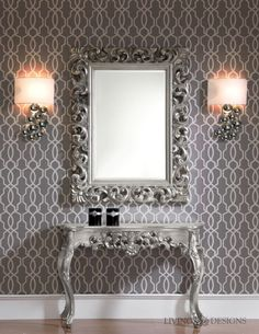 Inspiring mirror designs that will bring luxury to your home! These mirrors combined with a modern console table are the perfect combination. Interior Design Living Room, Living Room Decor, Interior Decorating, Modern Console Tables, Entrance Design, Modern Room, Oeuvre D'art, Entryway Decor, Consoles