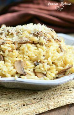 Parmesan Mushroom Orzo | from willcookforsmiles.com #pasta #sidedish #meatless