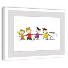 Marmont Hill Peanuts Group Skate Peanuts Framed Art Print, Size: 18 inch x 12 inch, Multicolor