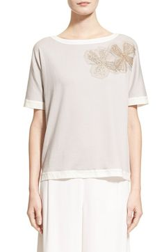 Fabiana Filippi Floral Embroidered Tee available at #Nordstrom