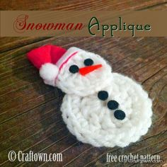 Free Crochet Pattern - Snowman Applique! #craftown #crochet