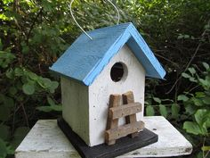 Primitive Chickadee Birdhouse Purple and Black by birdhouseaccents, $14.00
