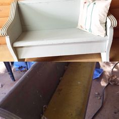 Church pew makeover American Decor Chalky Finish paint in Vintage with brown wax.