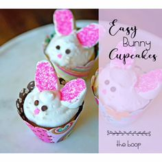 These Easter bunny cupcakes are cute enough to make year round, and simple enough to throw together for a last minute party. We'll show you how quick it is for you or the kids to make these  treats! #easterrecipes #bunny #cupcakes
