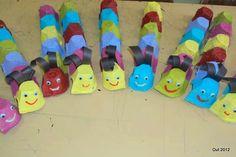 Lagartas de caixas de ovos