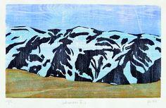 """UDO HAUFE . """"Schwarzes Eis"""" . Holzschnitt, Darstellung 23 x 38,5 cm"""
