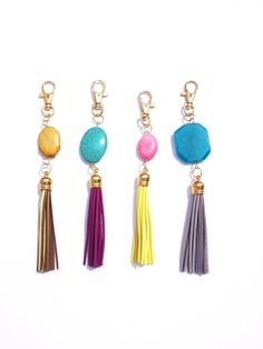 Gemstone & Tassel Keychain or Bag Purse Charm- leather suede
