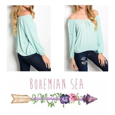 Off The Shoulders Boho Top Such a cute cute top! Loving this Off The Shoulder look  So flattering, the material is very soft, Non sheet, with a Flowy style. Runs true to size. Color is Mint *** Available in sizes S, M & L Bohemian Sea Tops Blouses