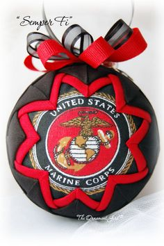 Semper-Fi Ornament Merry Christmas and may God bless our troops Fabric Christmas Ornaments, Pinecone Ornaments, Quilted Ornaments, Christmas Wreaths, Christmas Decorations, Christmas In Heaven, 1st Christmas, Handmade Christmas, Christmas Ideas
