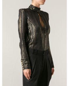 Balmain Long Sleeve Black & Gold Tone Striped Silk Shirt