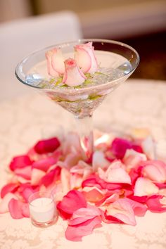 Martini glass centerpiece at my wedding - petals around the bottom is cute. Fake ones?