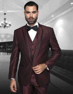 ROME BURGUNDY 3PC MENS SUIT